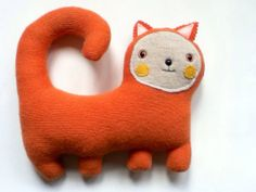 Toby the Cat // orange kitty plush // upcycled by sarahbrown, $37.50