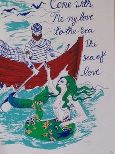 Come with me to the sea, 4 colour screen print by fromthelittlefoxden on Etsy A3, Sailor, Screen Printing, Mermaid, Colour, My Love, Prints, Etsy, Screen Printing Press