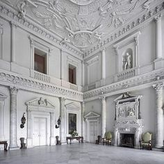The Entrance Hall at Clandon Park in Surrey, England - designed by Venetian architect Giacomo Leoni and built c. was this S & D's wedding venue? Architecture Company, Classical Architecture, Beautiful Architecture, Clandon Park, Interior And Exterior, Interior Design, Interior Walls, Parking Design, Classic Interior