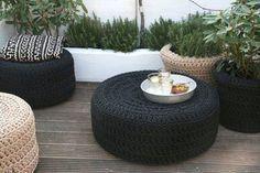 Luxo de Lixo Arte e Criação: Puff de pneu com tricô ! e pintadinho ! uauuuuuuu !