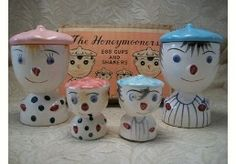 Vintage Japanese Honeymooners salt and pepper shakers and egg cups