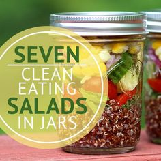 Healthy salads are a surefire way to clean up eating habits and help you to lose weight. Try these 7 Clean Eating Salads in Jars! #jarsalads #cleaneating #skinnyms