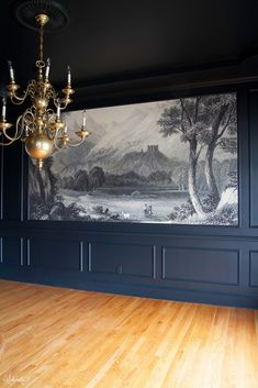 The Dining Room:Anthropologie Mural Wallpaper cut to fit into a frame. Finding and Hanging the Mural - The Makerista