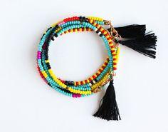Beaded Tribal Bracelet Layering Bracelet door feltlikepaper