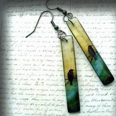 Haunted bird resin earringssolitude by Resin8ingDarkness on Etsy, $17.00