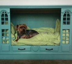 Doggie bed from repurposed tv cabinet