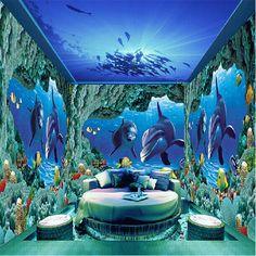 Mundo subaquático foto murais de papel de parede papel de parede 3d Golfinhos adesivo papel de parede papel de parede TV cenário mural papel de parede do fundo do mar
