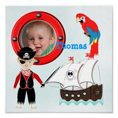 This nautical picture poster print is so cute with a fun kids pirate theme. A pirate sailing ship complete with pirate, parrot and skull and cross bones, adorable for a little boys bed room. Don't forget to customize it with his name and photo in the porthole frame. Ship ahoy matey! #talk-like-a-pirate #pirate #pirate-theme #nautical-pictures #cute-pictures #pirate-ships #parrots #blue #photo #red #photo-frame #boys-pictures #ahoy #boys-room-themes #ahoy-matey #ship-ahoy #name #name-pictures…