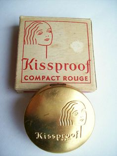Antique KISSPROOF Rouge Compact Vintage Makeup Puff Vanity Art Deco Flapper Case