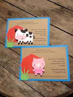 Barnyard Farm Party Invitations Cow, Pig, Barn, Birthday Invitations shower invitations custom. $24.00, via Etsy.