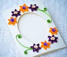Paper Quilling Handmade Quilled Picture frame card by PaperSimplicity Quilling Cards, Paper Quilling, Quilling Patterns, Diy Cards, Handmade Cards, Orange And Purple, Blank Cards, Purple Flowers, Handicraft