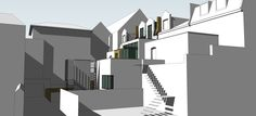 Modern Conversion; Mix Use: Office & 3 Residential Units. 3D Visual, Proposed Rear Extension, Rear Courtyard, Basement, Lightwell, Private Terrace, Gable Dormer http://www.vvarchitects.co.uk/