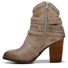 Not Rated Women's Kandinsky Heeled Booties (Taupe)