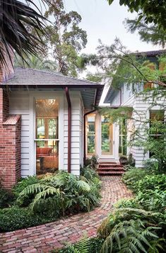Beautiful brick pathway to the friend entrance | Dillon K Architecture Brick Pathway, Brick Paving, Breezeway, Dream House Exterior, House Ideas Exterior, Exterior Design, House Exteriors, Driveways, Walkways