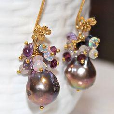 Mauve Pondslime Pearl Ethiopian Opal Amethyst Bali Gold Vermeil Earrings