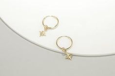 Dainty North Star Hoop Earrings – LITTIONARY Gift Wrapping Services, Minimalist Earrings, Gold Hoop Earrings, Gold Material, Solid Gold, Pearls, Minimalist Design, Instagram Fashion