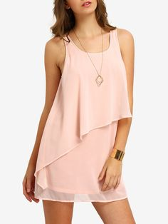Shop Pink Tank Neck Layed Chiffon Dress online. SheIn offers Pink Tank Neck Layed Chiffon Dress & more to fit your fashionable needs.