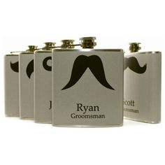 Personalized Groomsmen Gift Set of 6 Gray Mustache Flasks Liquor Flasks Wedding Favors 6oz