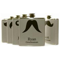 Personalized Groomsmen Gift Set of 6 Gray Mustache Flasks Liquor Flasks Wedding Favors 6oz