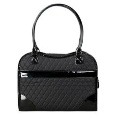 Pet Life Exquisite Handbag Fashion Pet Carrier - Black Quilted - B23BKMD