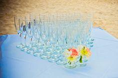 Beach wedding, champagne toast, tropical