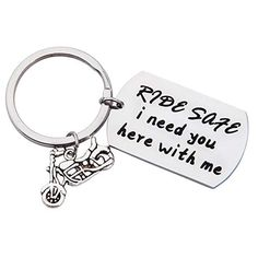 Keychains for Bike Stainless Steel Accessory for Men Car Ride Safe I Need You Here With Me Silver Best Gifts For Men, Nice Gifts, Thoughtful Gifts For Him, I Need You, Jewelry Accessories, Stainless Steel, Bike, Personalized Items, Christmas Birthday