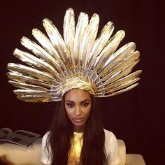 #gold #feather #headdress #SocialblissStyle