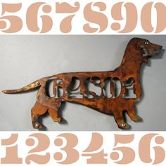 CUSTOM EAMES Style Dog Breeds Silhouette House Number Sign