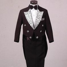 4 Piece Black Double Breasted Vintage Style Boys Dress Tail Suit Tuxedo SKU-132099