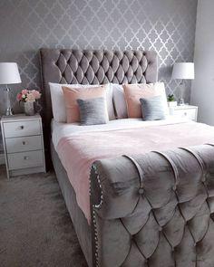 Bedroom Decor Grey Pink, Pink Bedrooms, Blush Pink And Grey Bedroom, Grey Bedroom Design, Small Grey Bedroom, Grey Bedroom Furniture, Bedroom Inspo Grey, Pink Master Bedroom, Blush Bedroom