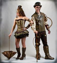 Steampunk costume... I like the idea of a cane for him