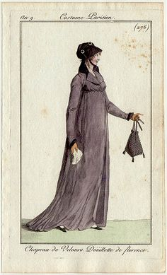 Is this mauve and black for mourning? She appears to hold a handkerchief. an 9 costume parisien