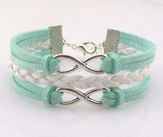 Depreciate sales promotion,Double infinity bracelet Silver Two Infinity Bracelet,White leather Mint rope.Christmas Gift Fashion Jewelry,Graduation Gift,Wholesale Or Retail