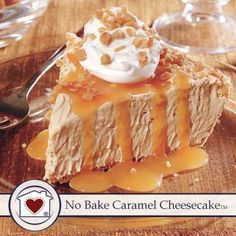 No fussing with the oven to make this creamy No Bake Caramel Cheesecake. It's rich, delicious and will make your mouth water. Just add cream cheese, whipped topping, and place the mixture into a graha