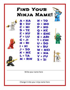 what's your ninja name                                                                                                                                                      More