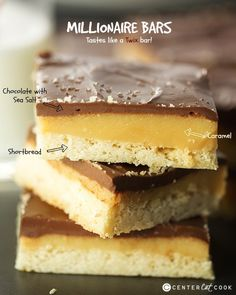 Seems easy enough - Millionaire Bars offer layer upon layer of decadent goodness with a shortbread layer on the bottom, a caramel layer in the middle and chocolate on top! Köstliche Desserts, Delicious Desserts, Dessert Recipes, Yummy Food, Bar Recipes, Recipies, Baking Recipes, Cookie Recipes, Yummy Treats