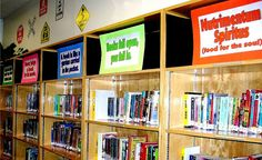 """Famous quotes signs are """"filler"""" for our library shelves that are too tall for students to reach comfortably.     more great quotes"""