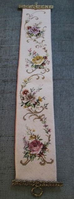 vintage two needle point bell pull tapestry embroidery wall hanging quality Just Cross Stitch, Cross Stitch Borders, Crochet Borders, Cross Stitch Flowers, Cross Stitch Charts, Cross Stitch Designs, Cross Stitching, Cross Stitch Patterns, Hand Embroidery Flowers