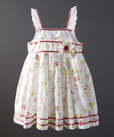 Another great find on #zulily! White & Red Floral Amy Dress - Infant, Toddler & Girls by Powell Craft #zulilyfinds