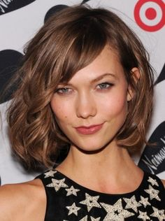 Brown Short Curly Hairstyles with Side Bangs