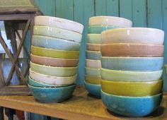 Colorful, Stacked Bowls.     www.sophiesshoppe.com