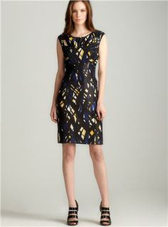 Print Pleated Sheath Dress