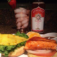 Salmon burger  tea