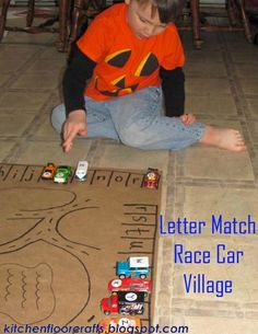 Rev up your son's learning with this Letter Match Race Car Village. Simply label his favorite Hot Wheels and have him drive them through the village to their matching parking spot! Car Activities, Early Learning Activities, Alphabet Activities, Craft Activities For Kids, Fun Learning, Toddler Activities, Educational Activities, Preschool Ideas, Toddler Crafts