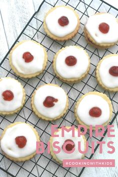 Empire biscuits are a delicious melt in your mouth biscuit popular in Scotland. Simply sandwich two shortbread biscuits together with jam and decorate with icing and a glace cherry. #empire biscuits #easy #recipe #baking with kids #shortbread #classic #traditional #scottish Empire Biscuit Recipe, British Biscuit Recipes, Scottish Recipes, Bake Sale Recipes, Easy Cookie Recipes, Baking Recipes, Sweet Recipes, Baking Ideas, Lunch Box Recipes