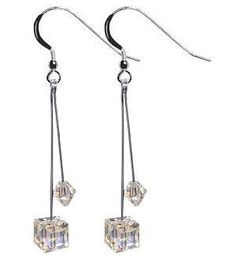 SCER072 Sterling Silver Clear Cube Crystal Earrings Made with Swarovski Elements Gem Avenue. $17.99. Approximate Dimension of the Earrings is 2.5 Inch Long. Made in USA. secure Sterling Silver French Hook. Austrian Made with Swarovski Elements. Gem Avenue sku # scer072. Save 47%!