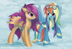 Rainbow Dash and Scootaloo the later years. RD joins the Wonderbolts and Scootaloo challenges her to a flight contest. My Little Pony (c) Hasbro.