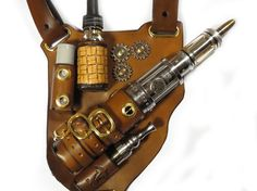 Steampunk mod holster (vape leather and steampunk all it needs is a sharp and or pointy object for it to be an all encompassing ME pin)