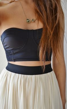 #Fashion #Clothing #Outfit #Style #Skirt #High #Waisted #Waist #Black #Leather #Strapless #Long #Hair #Gorgeous #Adorable #Black #White #Rose #Gold #Rusty