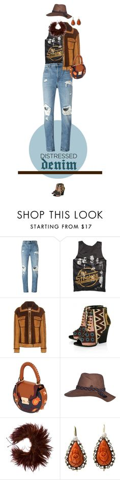 """""""True Blue: Distressed Denim"""" by sinesnsingularities ❤ liked on Polyvore featuring Alexander Wang, Rock Revival, Coach, Burberry, SALAR, Maison Michel, Brunello Cucinelli, Antique, distresseddenim and contestentry"""